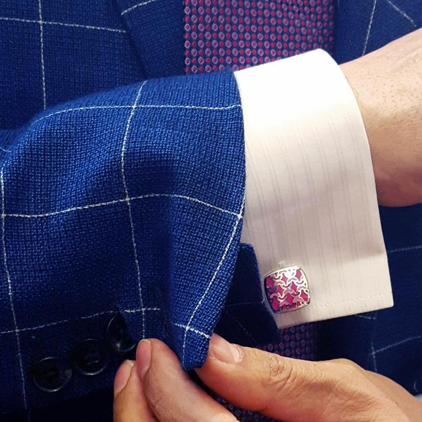 Luxury Steel Alloy Pink Pattern Cufflinks - Franco Uomo