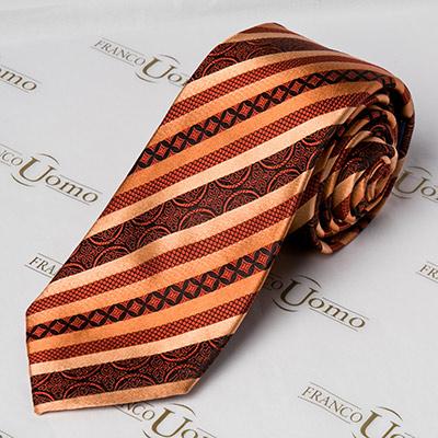 Luxury Silk Auburn Woven Pattern Necktie - Franco Uomo