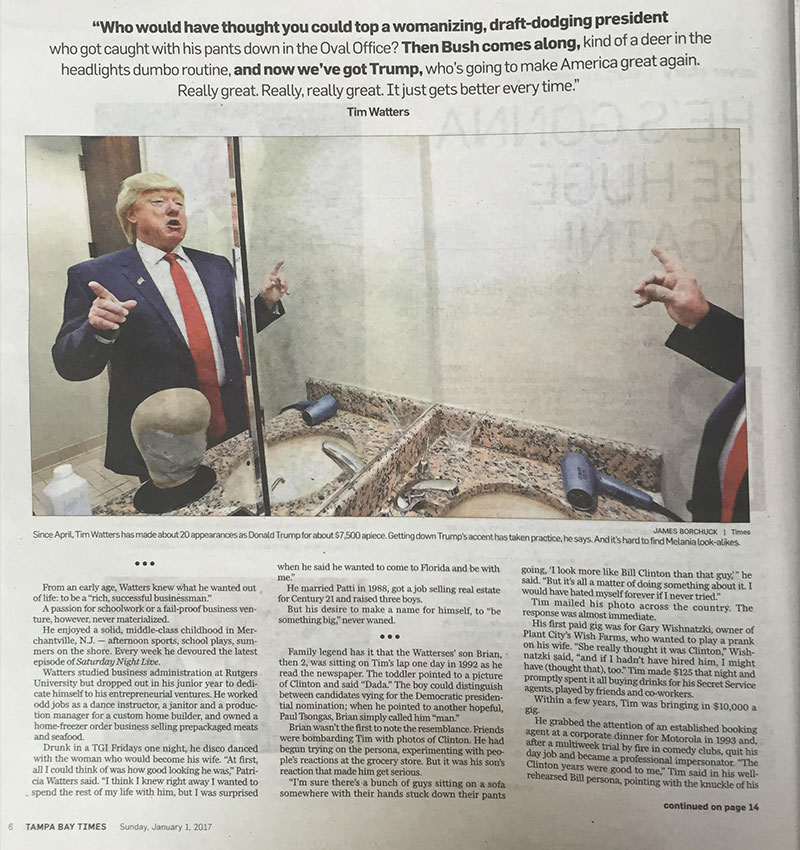 Tampa Bay Times, Tim Watters Donald Trump Impersonator