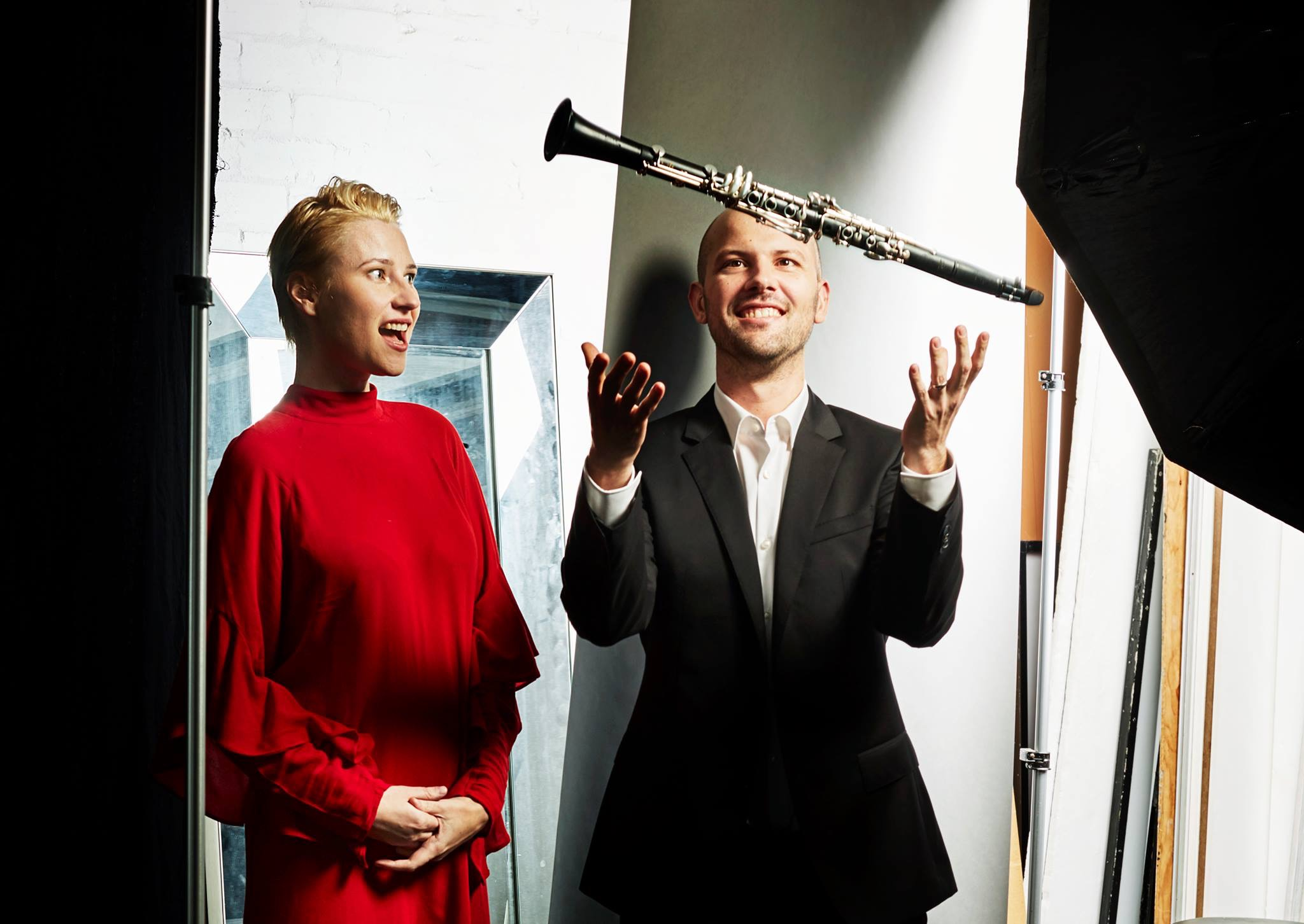 - David's new party trick (throwing the clarinet). Don't worry, he caught it !