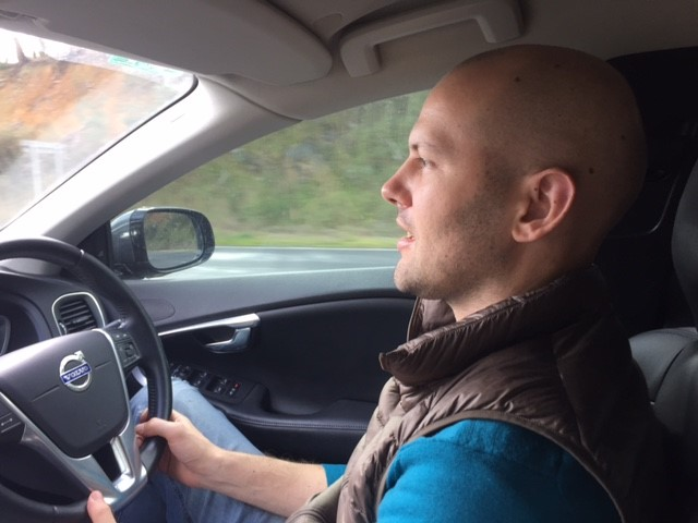 - David taking the wheel for a while as we head to our next destination ... home.