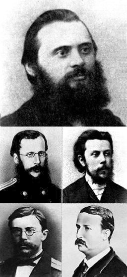 "THE MIGHTY HANDFUL ""tHE FIVE"" :  Mily Balakirev  (the leader),  César Cui ,  Modest Mussorgsky ,  Nikolai Rimsky-Korsakov  and  Alexander Borodin"