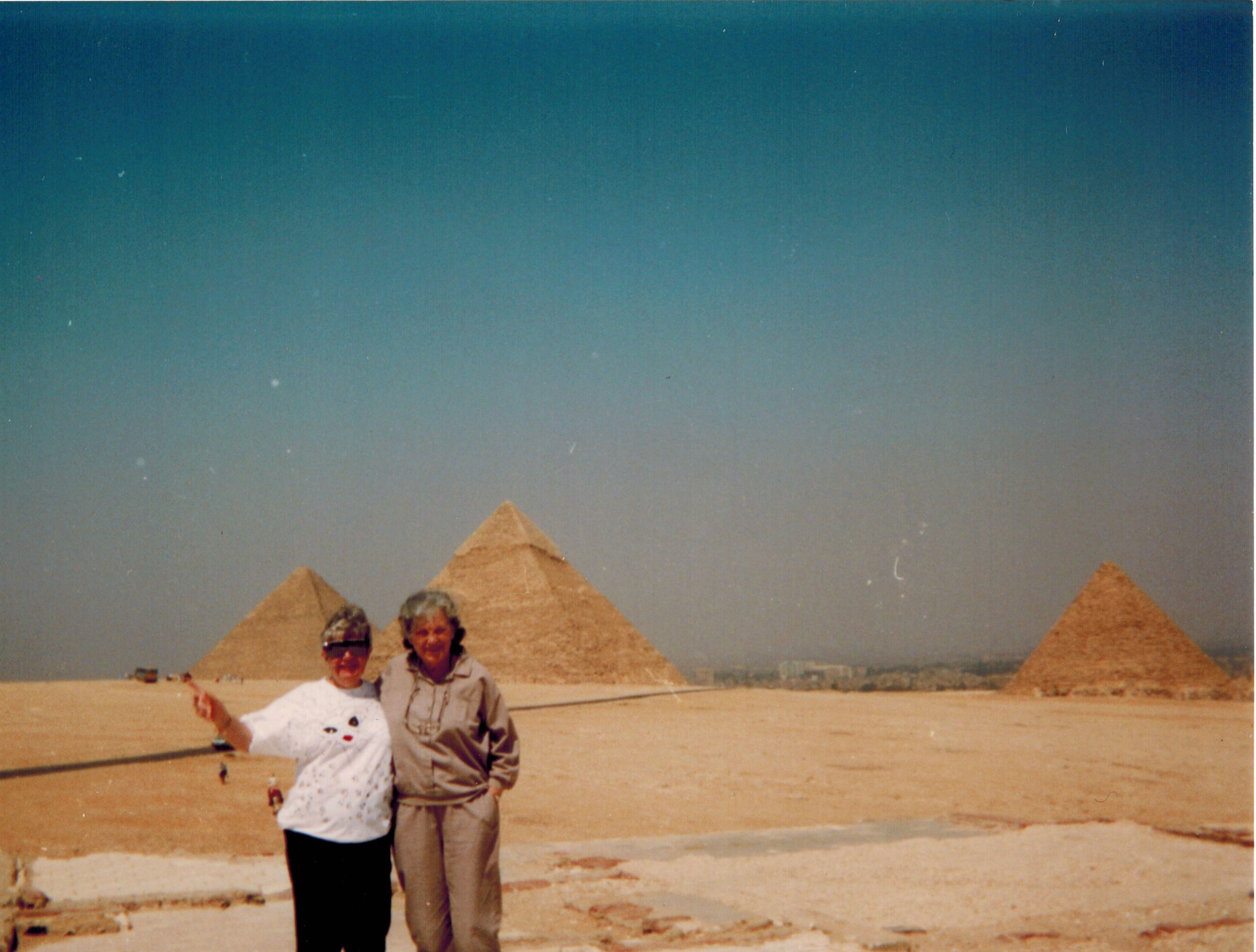 Wanda, Meg's Grandma, and Elaine, Julia's Nana, at the pyramids in Egypt in the late 1980s