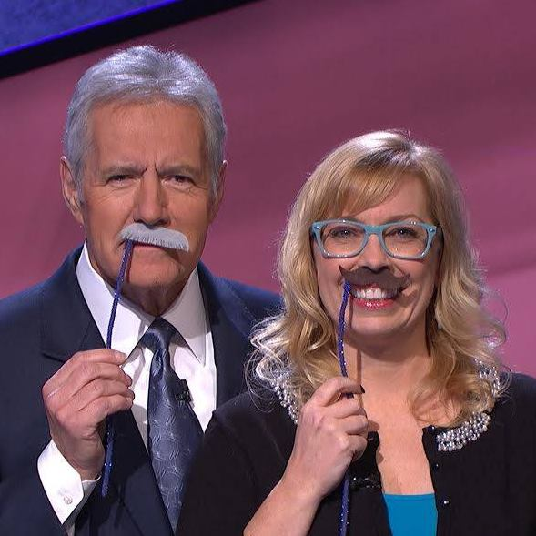 Stephanie and Alex Trebek brought the mustache back to the Jeopardy! stage during the 2014 Battle of the Decades Tournament (   Photo credit: Jeopardy Productions, Inc.)