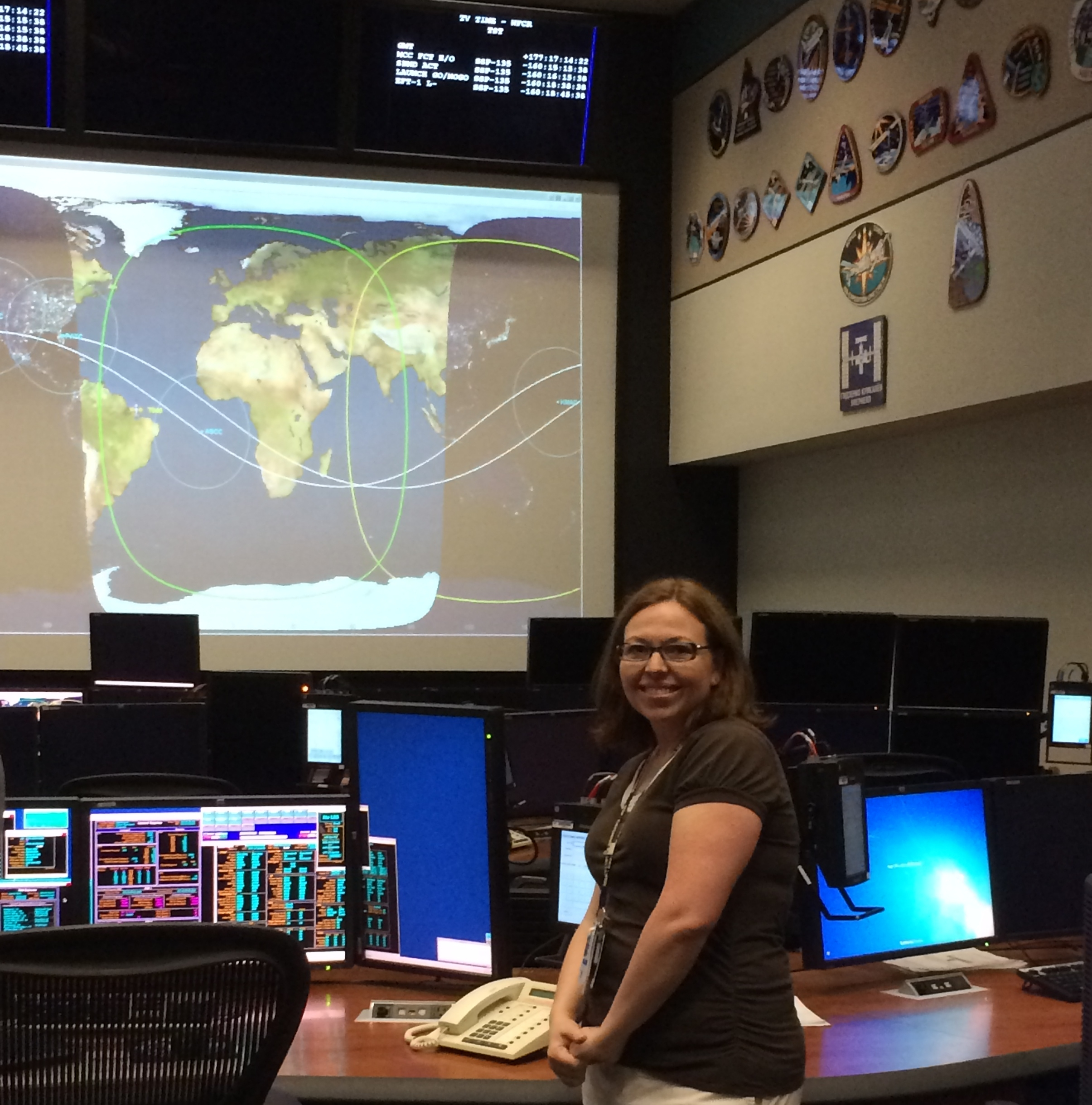 Julie Wolfson in the Orion Control Room at the Johnson Space Center in Houston. Julie works as a systems engineer on Orion at Lockheed Martin.