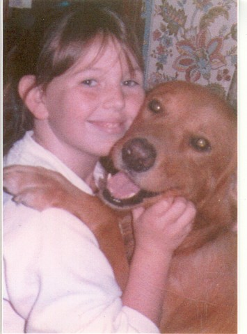 Julie and her beloved golden retriever when she was in middle school.