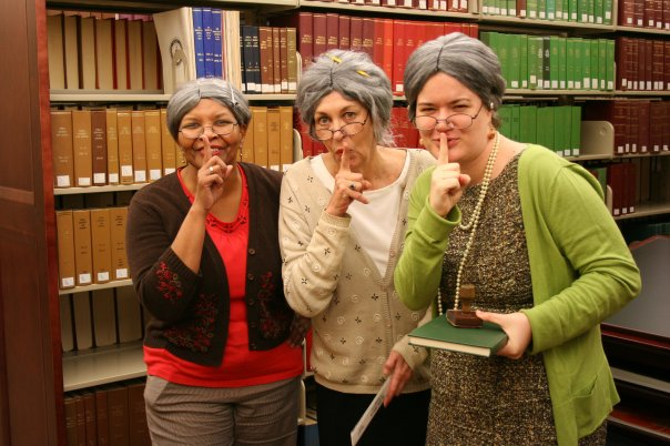Amanda and some colleagues dressed up for Halloween as.... librarians!