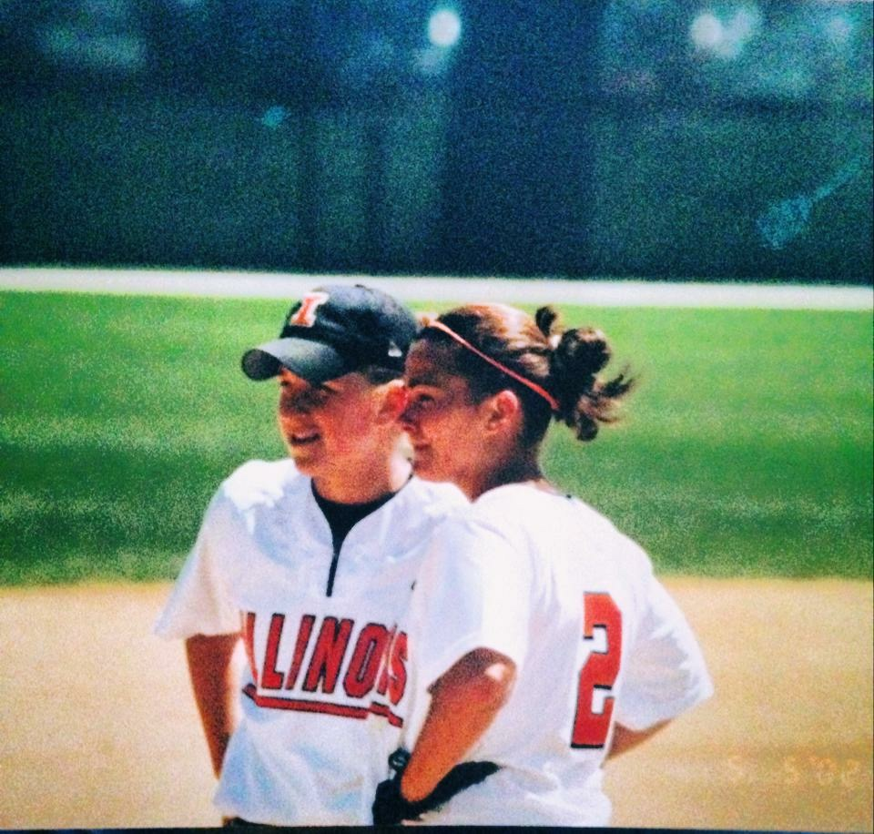 Ker (right) playing softball at the University of Illinois. A teammate connected Keri to her first job at ESPN.
