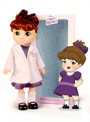 The Miss Possible Marie Curie doll- the result of a successful campaign! Image:  Miss Possible