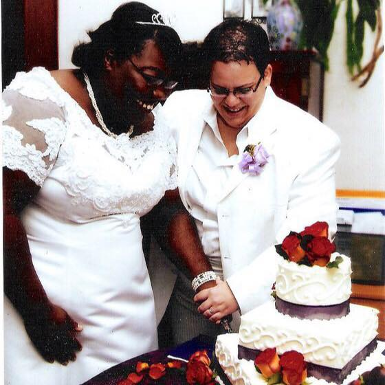Fran and her wife, Kim, on their wedding day. They were married in the church Fran found when she was seeking community during law school.