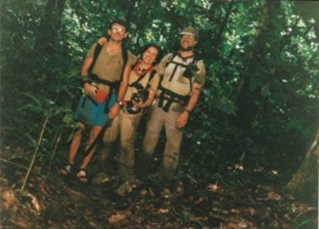 Cynthia Moses with two colleagues in the  Nouabale-Ndoki National Park  in the Republic of Congo