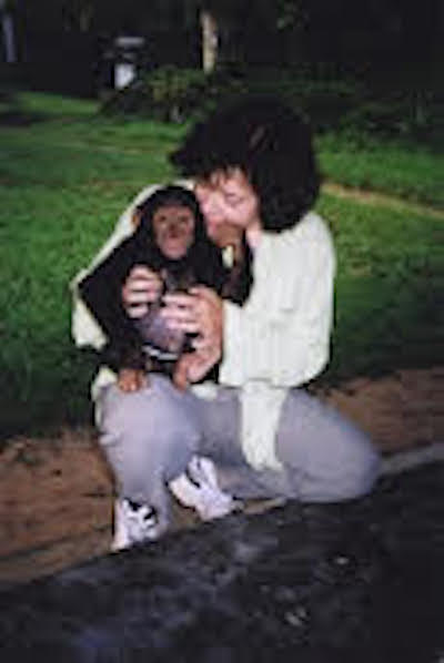 Cynthia with an orphaned chimp