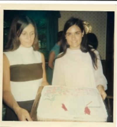 Cynthia, right, at her high school graduation in 1967