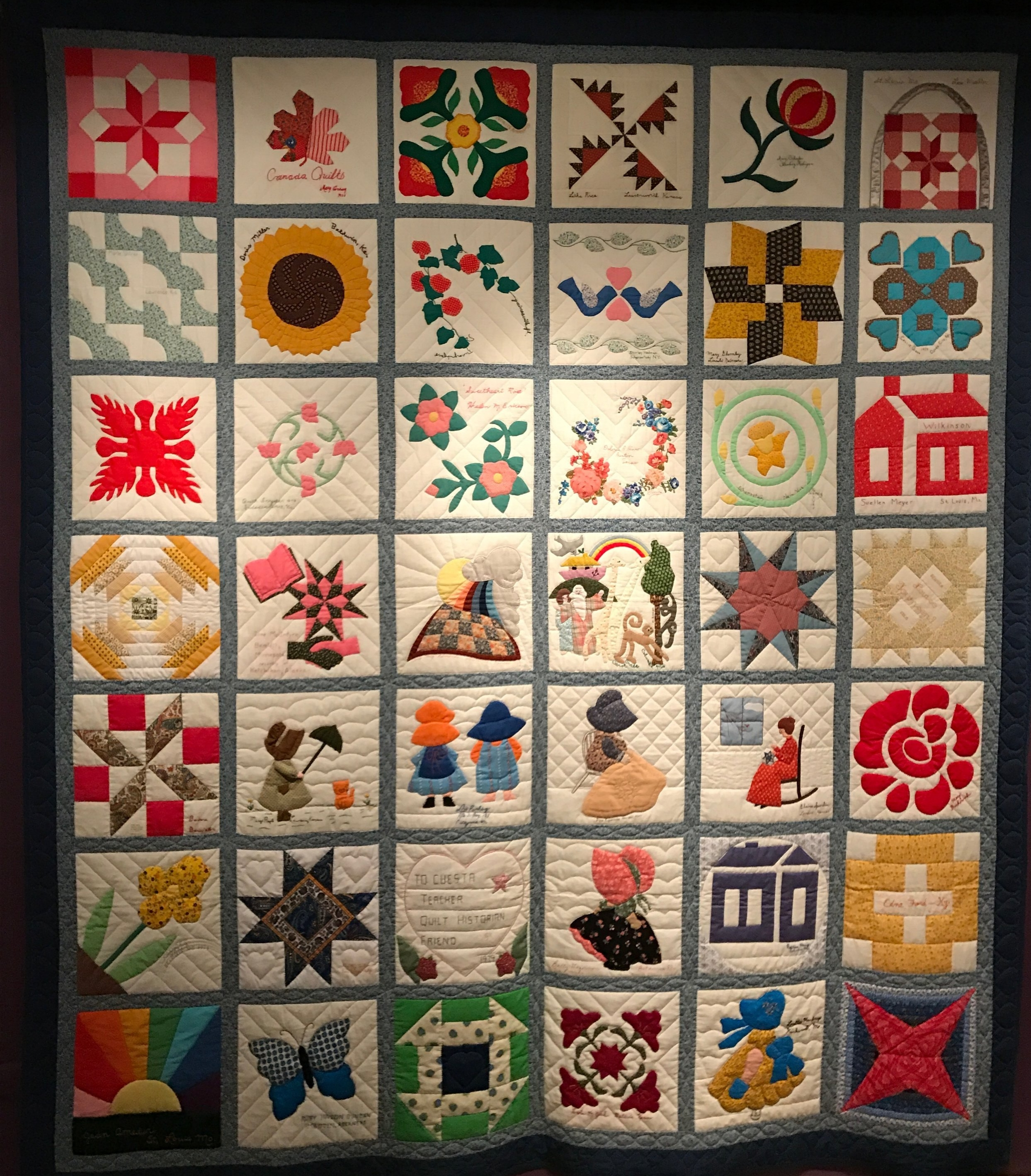 """This is friendship quilt made for Cuesta Benberry in 1979 by her friends, who were the """"who's who"""" of the quilting world. Each block is just gorgeous, and you could feel the love and joy that went into the quilt. I think my favorites are the third row from the top on the left or the third from the left on the top row."""