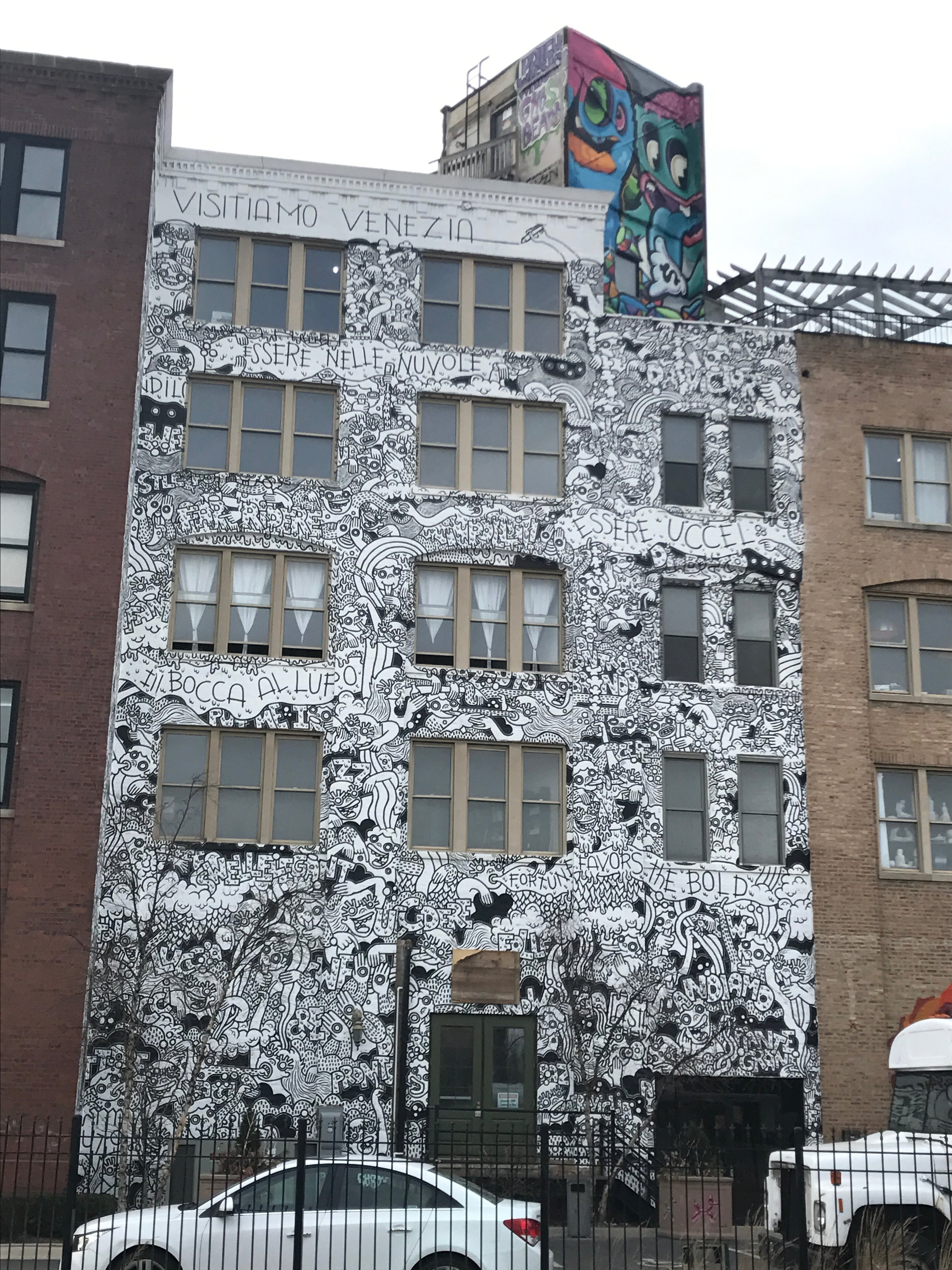 Driving up, we knew we were in the right place when we saw this wall. The artist lived in the building while she painted the whole thing - freehand- over several weeks.