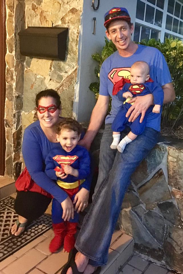 Ashley with her husband and two sons last Halloween