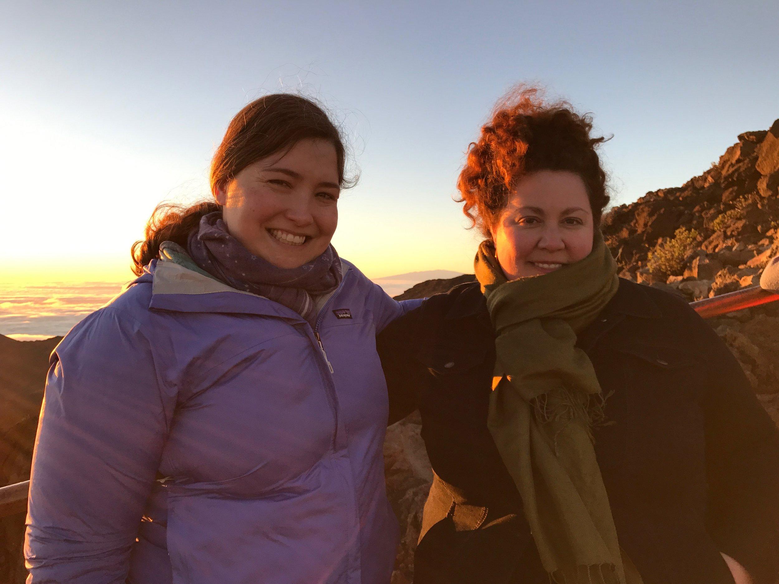 Meg and I bundled up for sunrise at the Haleakala Crater