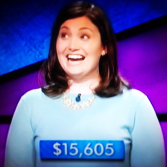 """The """"reaction shot"""" after I won on Jeopardy! I think someone took a photo of their TV and sent it to me, but it's my favorite!"""