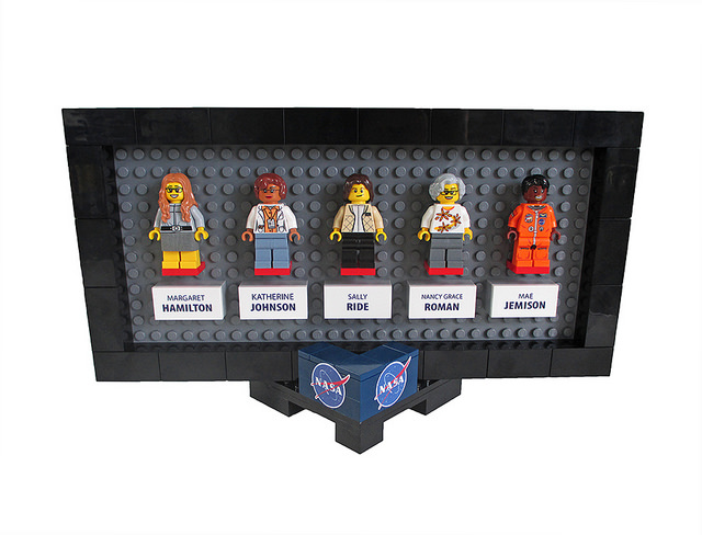 The Women of NASA LEGO set: Apollo Programmer Margaret Hamilton, Computer Katherine Johnson, Astronaut Sally Ride, Astronomer Nancy Grace Roman, and Astronaut Mae Jemison.  Find out more  about the plans, inspirations, and process behind the set.