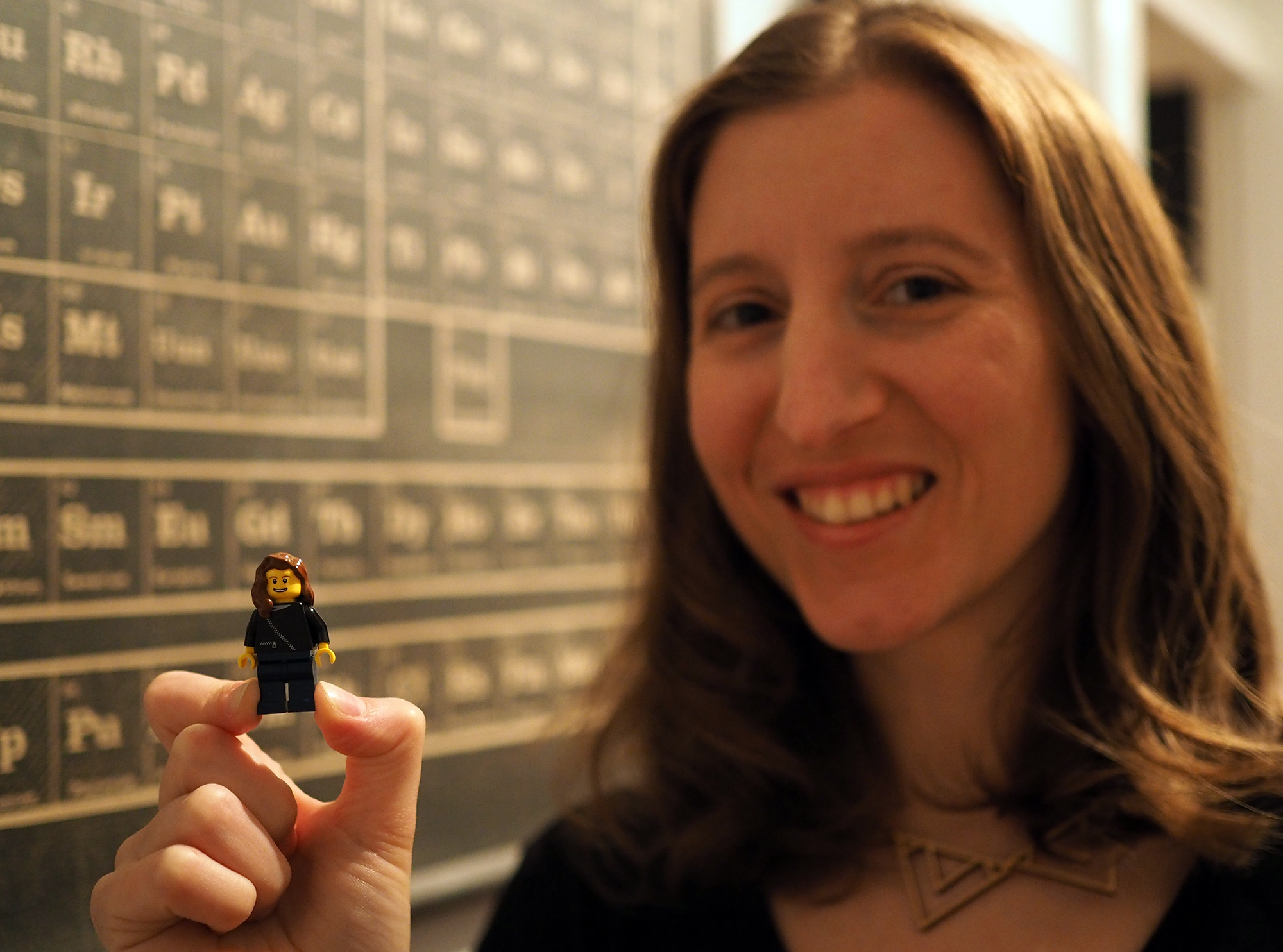 Maia Weinstock with her LEGO counterpart