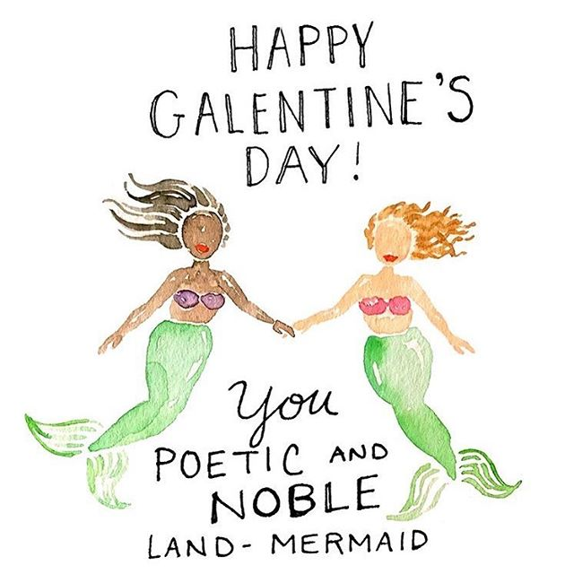 Whether your friends are beautiful, talented, powerful musk oxen; beautiful, rule-breaking moths; opalescent tree sharks; or, of course, poetic and noble land-mermaids... Happy Galentine's Day! 🧜‍♀️🧜🏻‍♀️🧜🏼‍♀️🧜🏽‍♀️🧜🏾‍♀️🧜🏿‍♀️ (🎨: @kimothyjoy) #galentinesday #landmermaid #friends #leslieknope #parksandrec #annperkins