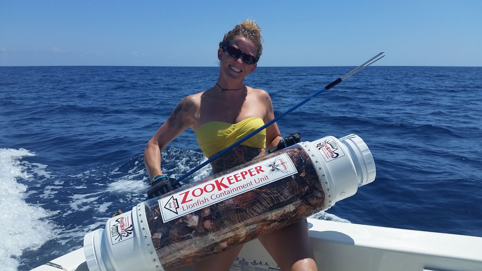 Rachel with her custom Zookeeper full of lionfish