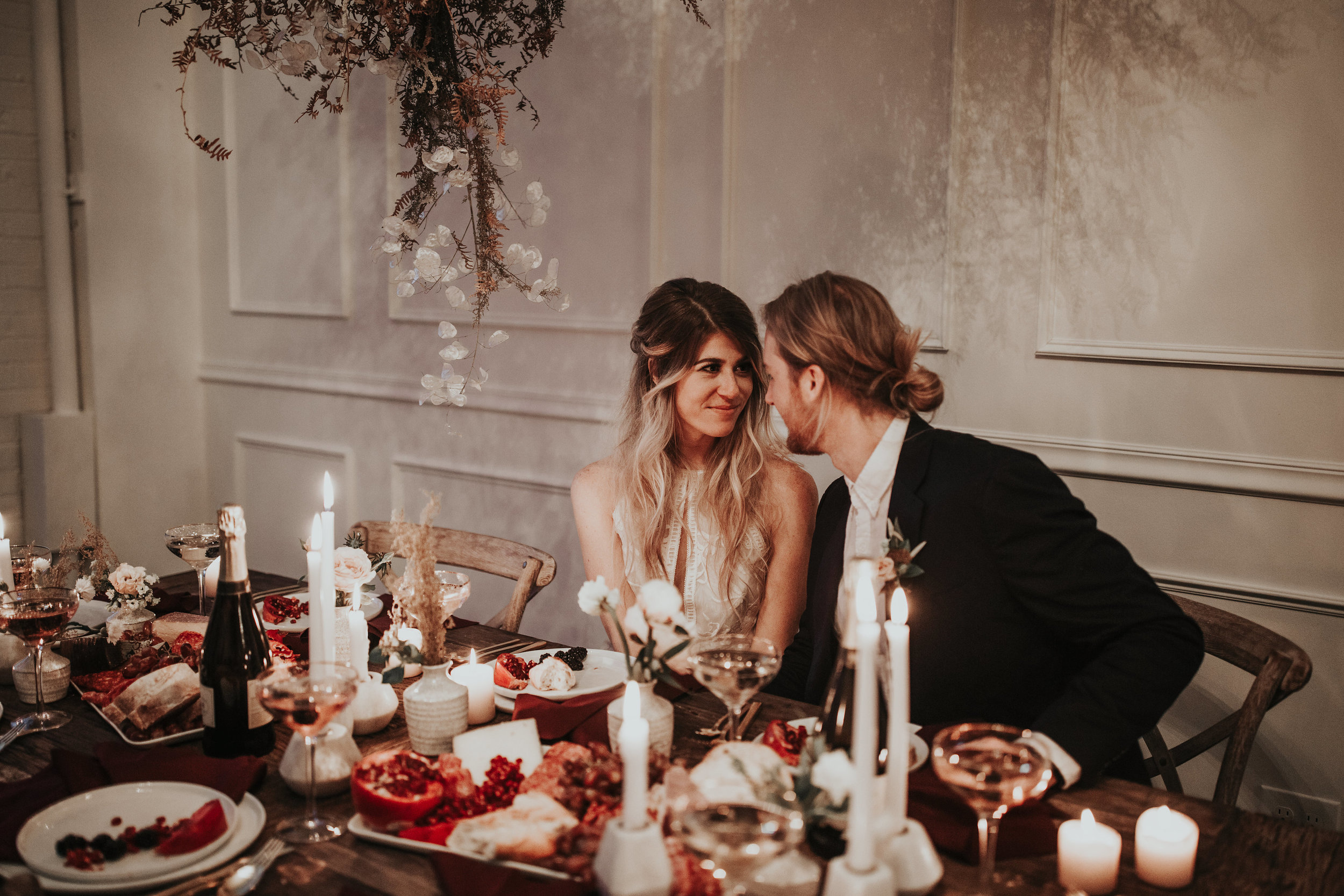 chelsie + todd - chic industiral wedding inspiration with a dried foliage cloud