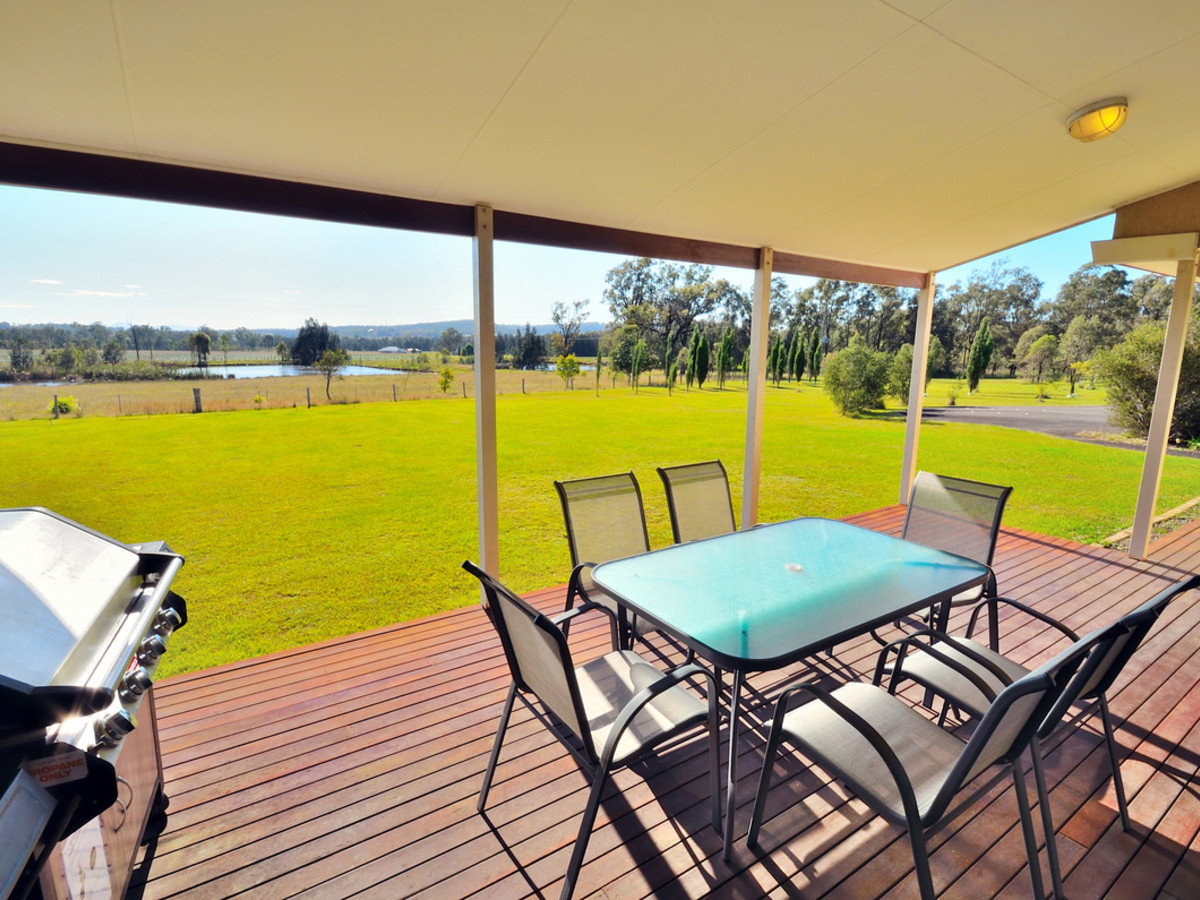 Large outdoor entertaining deck with lovely rural outlook
