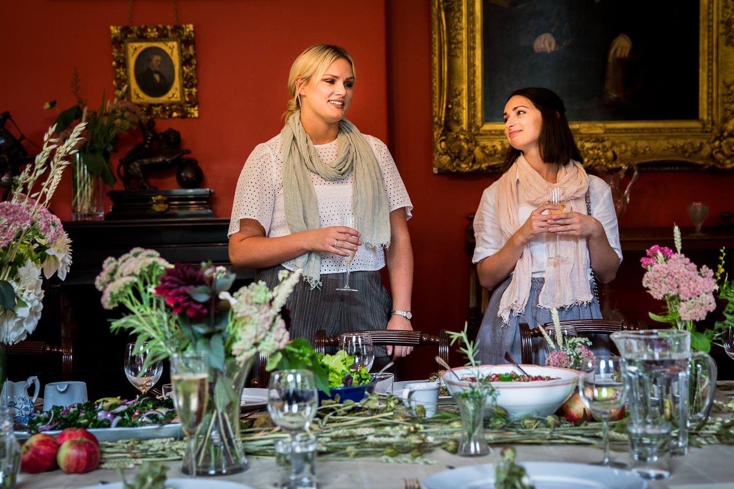 Hannah and Yasmin from The Linen Works talk us through the table display. Photo Louise Robinson.