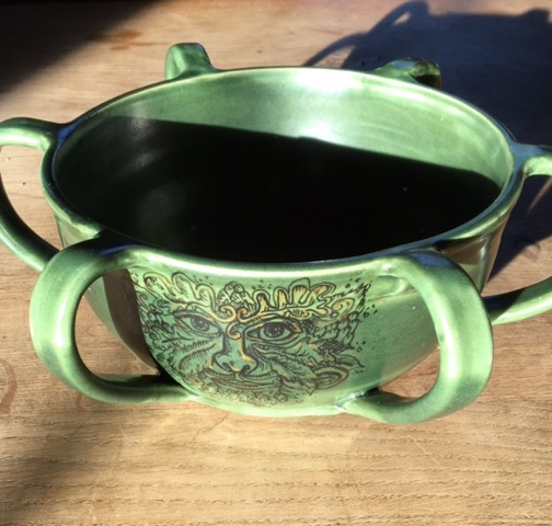 The wassail cup. Created by a local potter and decorated by Kate Martin