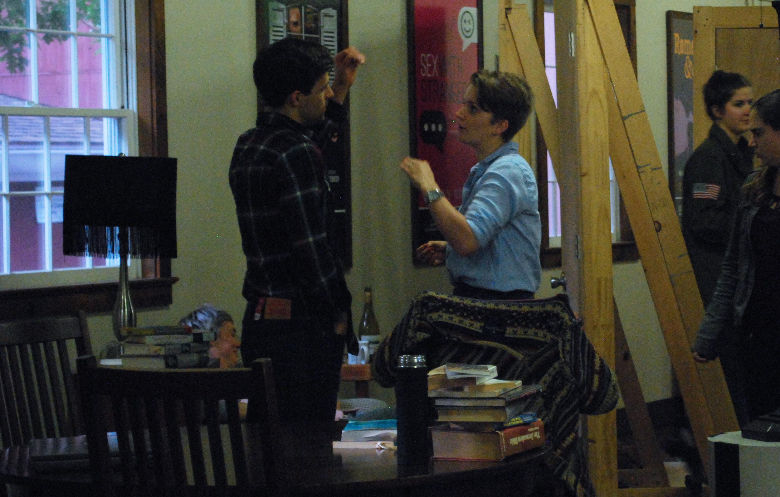 Katherine working with actor Chris Ghaffari in rehearsal,2017