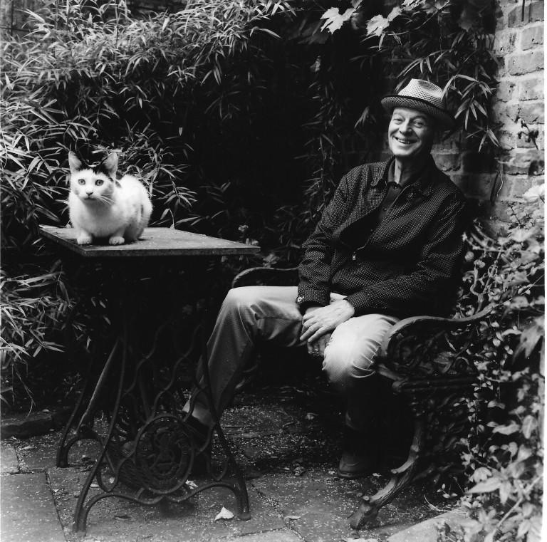 Rodney Archer Portrait taken in his garden 31, Fournier Street, Spitalfields 29.08.2014