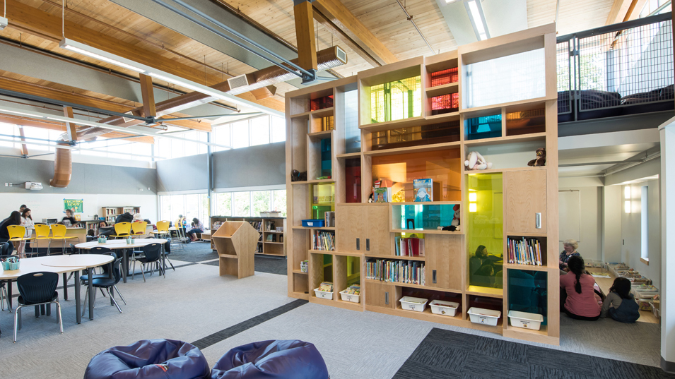 Modern classrooms, like this one designed by Fielding Nair International, move beyond traditional rows of desks opting instead for multi-use spaces.