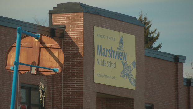 Marshview Middle School, built 70 years ago,was originally the Sackville High School. Below are photos from Marshview (Top row: art hallway, boys change room, cafeteria; Middle row: hallway, hallway, library; Bottom row: playground, new tech lab, tech lab)