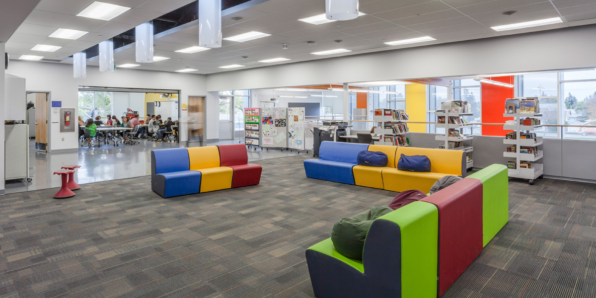 """Seven Stones Community School """"was designed with significant community input through an integrated design process. The forward-thinking 21st century school is comprised of flexible teaching spaces designed to accommodate a variety of teaching methods."""""""