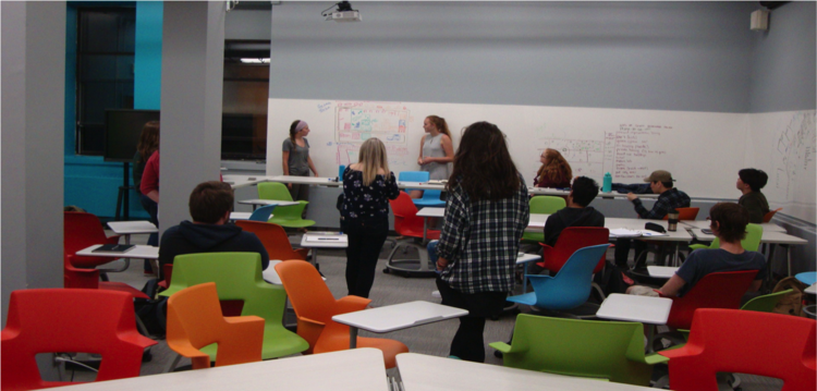 The innovative R-PEACE space at Mount Allison allows for flexible groupings of students.