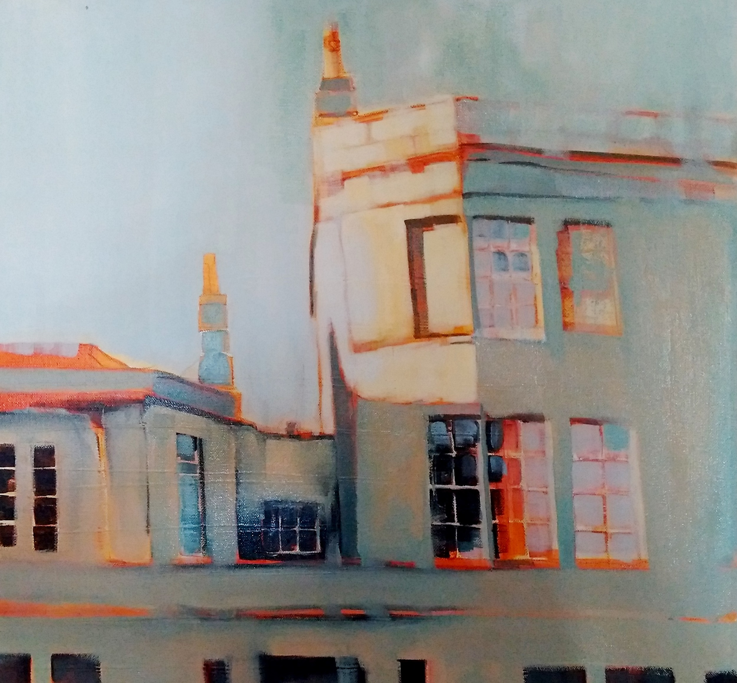 WINTER SUN ON THE BEAUFORT PUB, CITY OF BATH 2016 oil on canvas 60 x 75cm