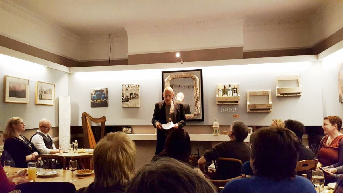 MIKE PERFORMING FLASH FICTION READINGS AT ST JAMES'S WINE VAULTS, BATH UK Dec 2016