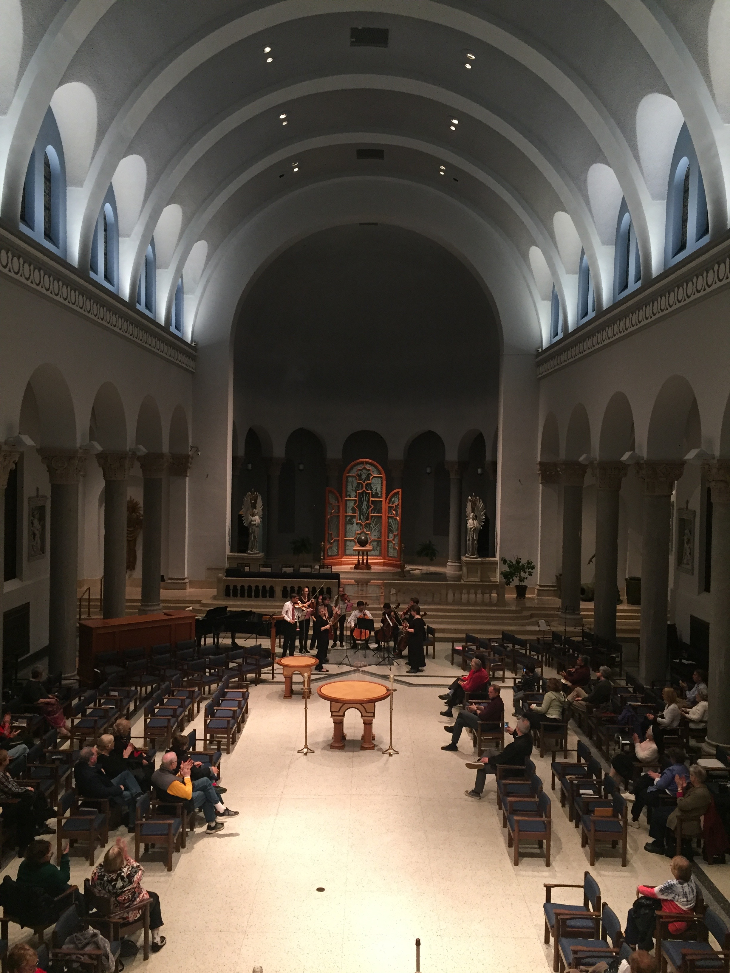 LaRoche College - Festival of Lights - Friday, December 1, 20176:00-7:00pm - Sisters of Divine Providence ChapelFeaturing: TRYPO's Fidelis Trio - Tommy, Maeve, and Nick; TRYPO's Chordis Quartet - Chad, Mei, Felix, and Emma; and PYSO's Artemis Quartet - Chloe, Anna, Nora, and Ji-Yool. Each group performed classical repertoire, then all three groups joined to perform holiday favorites in this stunning setting.