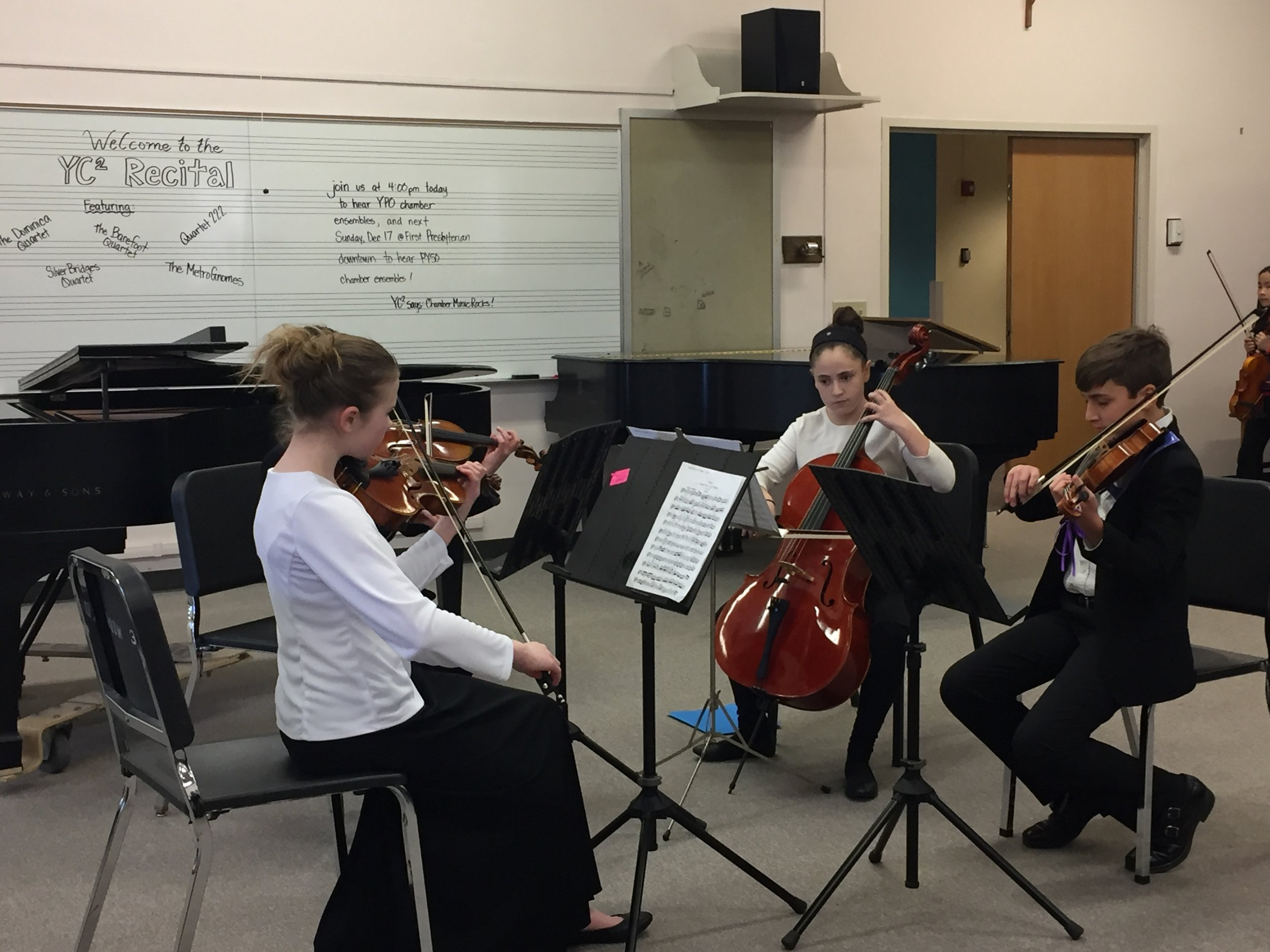 PYSO Pre-Concert - Saturday, March 4, 2018 6:30-7:15pm in the Heinz Hall LobbyYC² groups Barefoot Quartet, Dominica Quartet, Silver Bridges Quartet, and MetroGnomes performed in the lobby, followed by a free concert at 7:30pm by the Pittsburgh Youth Symphony Orchestra.