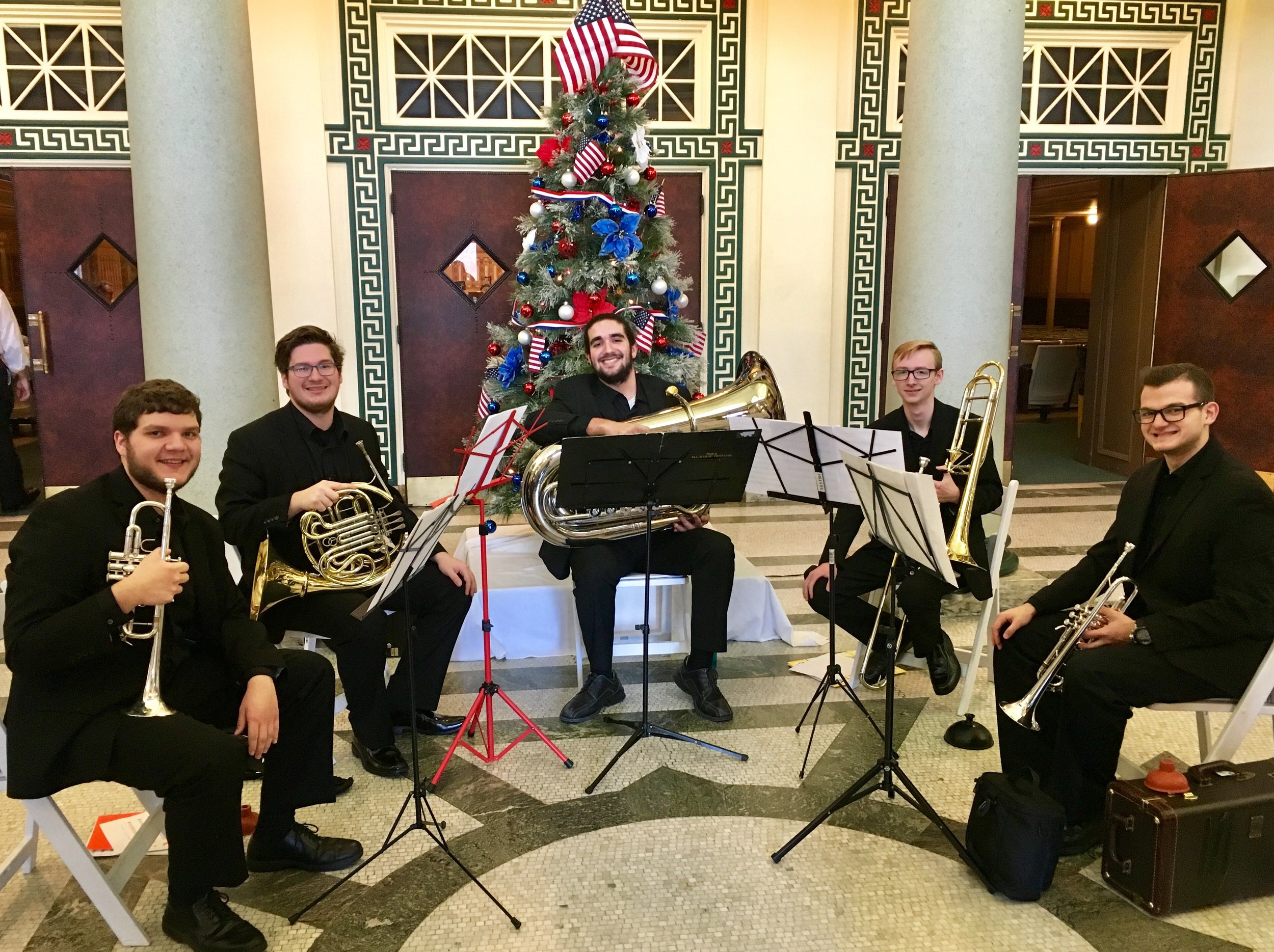 "Brass Roots Pre-Concert Performance - Sunday, December 2, 2018 - Monaloh Brass Quintet - Soldiers & Sailors Memorial Hall in Oakland, PAJoel, Noah, Connor, Lukas, and Ryan—all members of the PIttsburgh Youth Symphony Orchestra—performed before the Brass Roots and Pine Creek Community Band concert. Then the Brass Roots invited Monaloh Brass on stage to join them in the finale featuring Leroy Anderson's ""Sleigh Ride."""