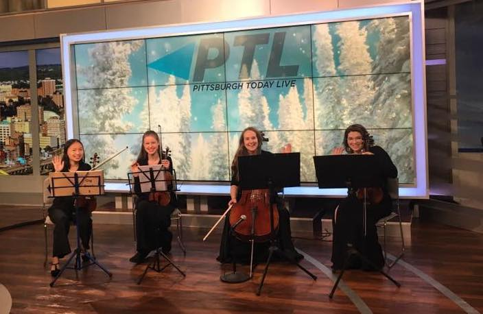 """""""Pittsburgh Today Live"""" on KDKA TV - Tuesday, November 27, 2018 - Finestra Quartet - KDKA Studios, Gateway CenterMei, Maeve, Mirra, and Nora performed classical and holiday music live on television to promote the upcoming Three Rivers Young Peoples Orchestras concert on December 9, and our Holiday Strings performance at PPG Wintergarden December 16."""