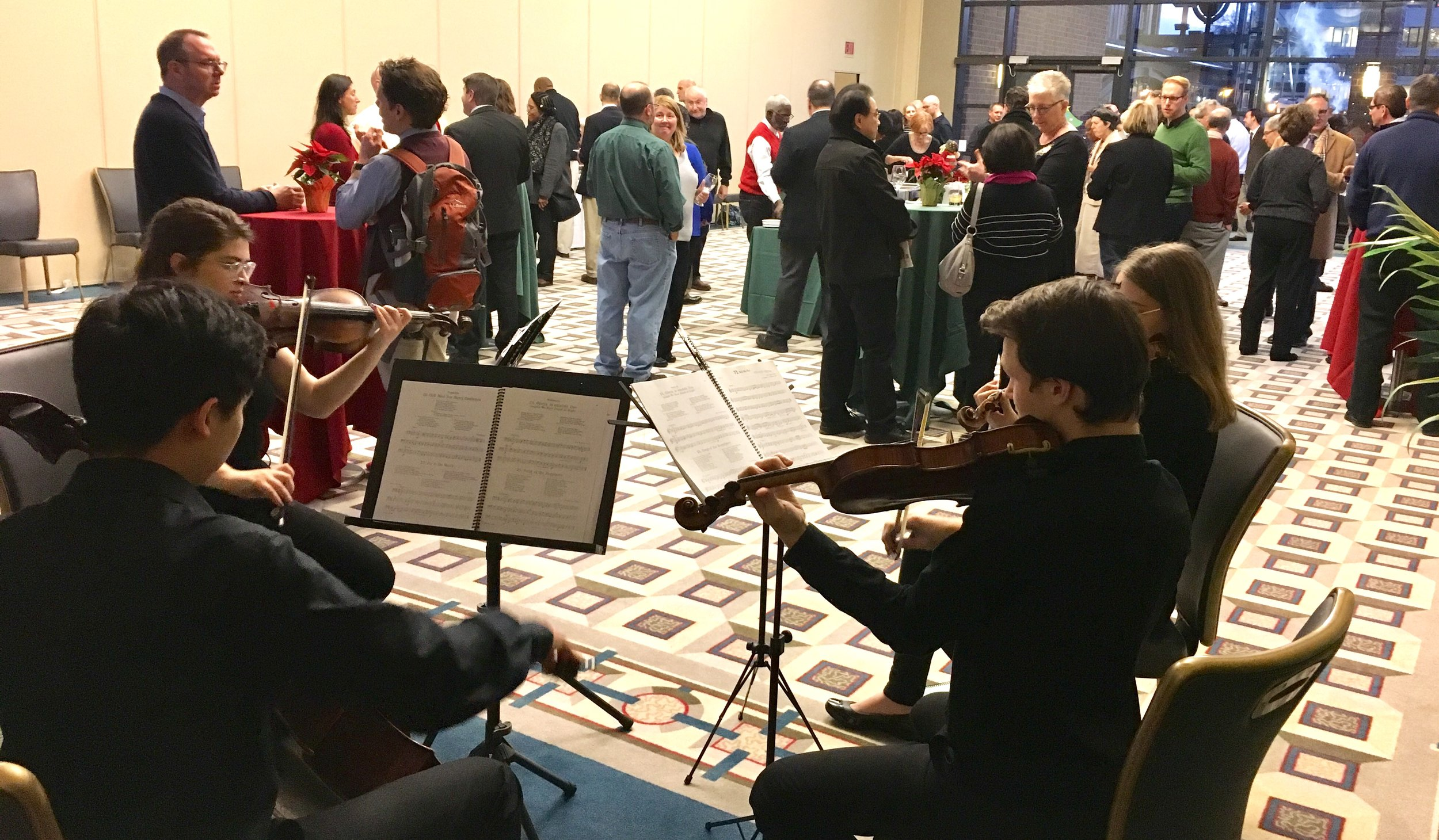 Duquesne University Faculty Party - Wednesday, December 5, 2018 - Artemis Quartet - Ballroom at Duquesne UniversityPittsburgh Youth Symphony members Nora, Ji-Yool, Felix, and Chloe performed at a faculty gathering at Duquesne University, invited by the McAnulty College and Graduate School of Liberal Arts