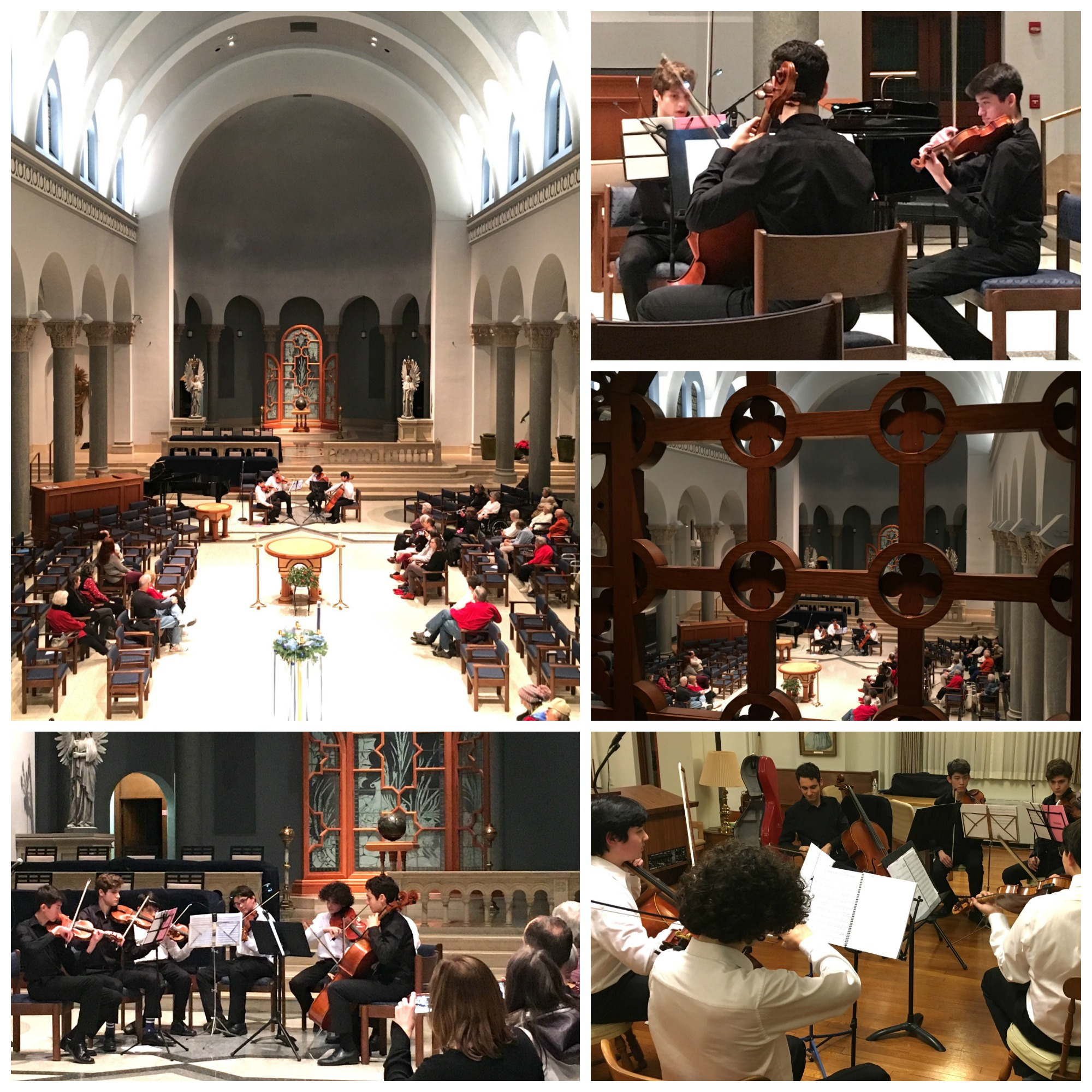 LaRoche College Festival of Lights - Friday, December 7, 2018 - Mercurial Trio and the UpBeat Quartet - Divine Providence Mother HouseHarry, Hector, Jonah, and Nick—the UpBeat Quartet—performed beautiful movements from the Mendelssohn and Borodin quartets, followed by the Mercurial Trio—Zach, Charlie, and Noah, playing classical music as well. All seven (including two sets of brothers) teamed up to play Chanukah and Christmas classics. The venue is the stunning Mother House at the Sisters of Divine Providence on the campus of LaRoche College.