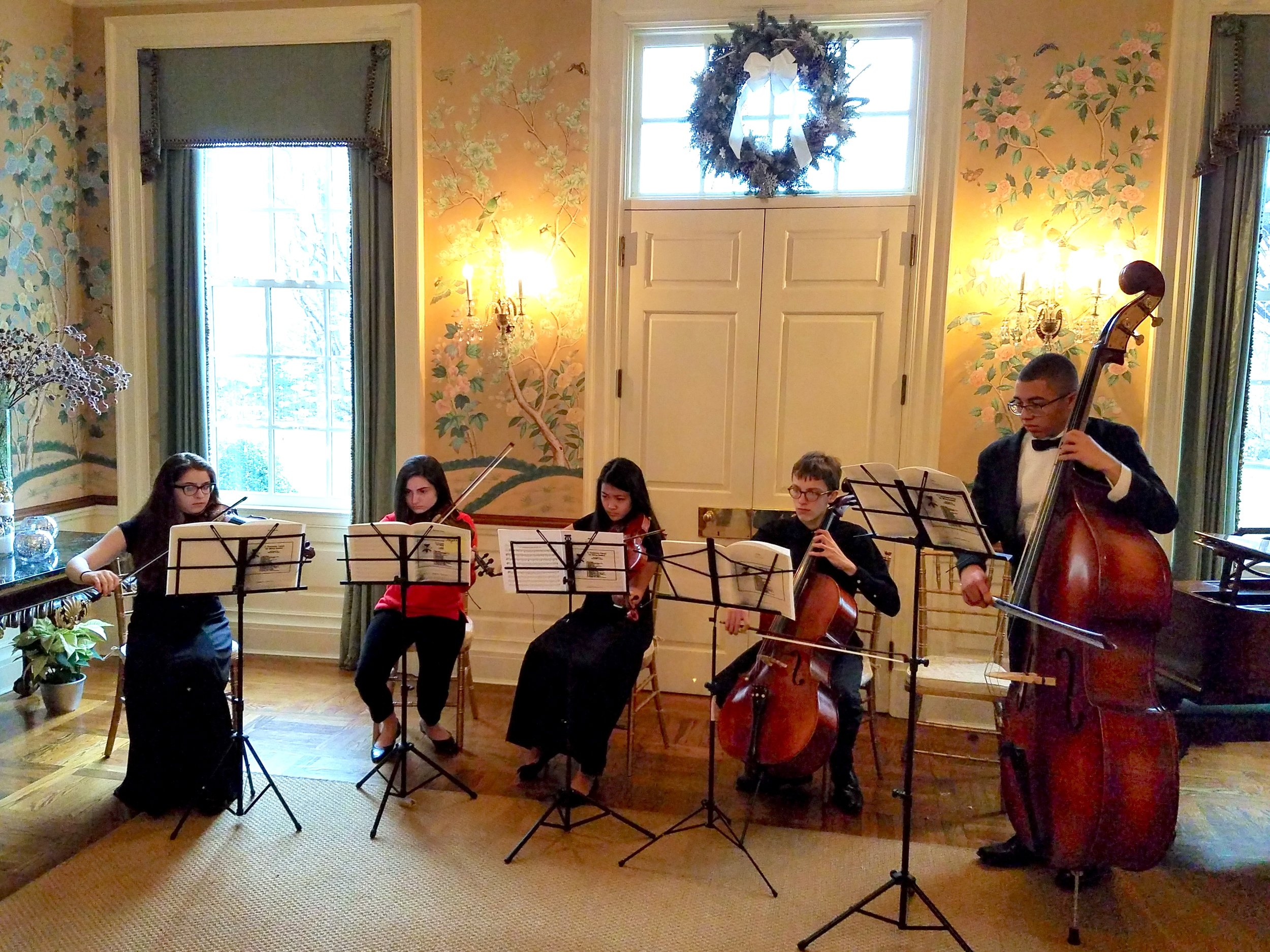 PA Governor's Holiday Open House - Sunday, December 9, 2018 - Orange Accents Quinter, Governor's Mansion, HarrisburgGovernor and Mrs. Tom Wolf invited the Orange Accents Quintet to perform at their annual Holiday Open House. It was a wonderful road trip for this YC² group—Riley, Angelina, Vanessa, Nick, and Kobe—who performed a set of holiday favorites arranged for them by their fabulous coach Stephanie Tretick, a member of the Pittsburgh Symphony Orchestra.