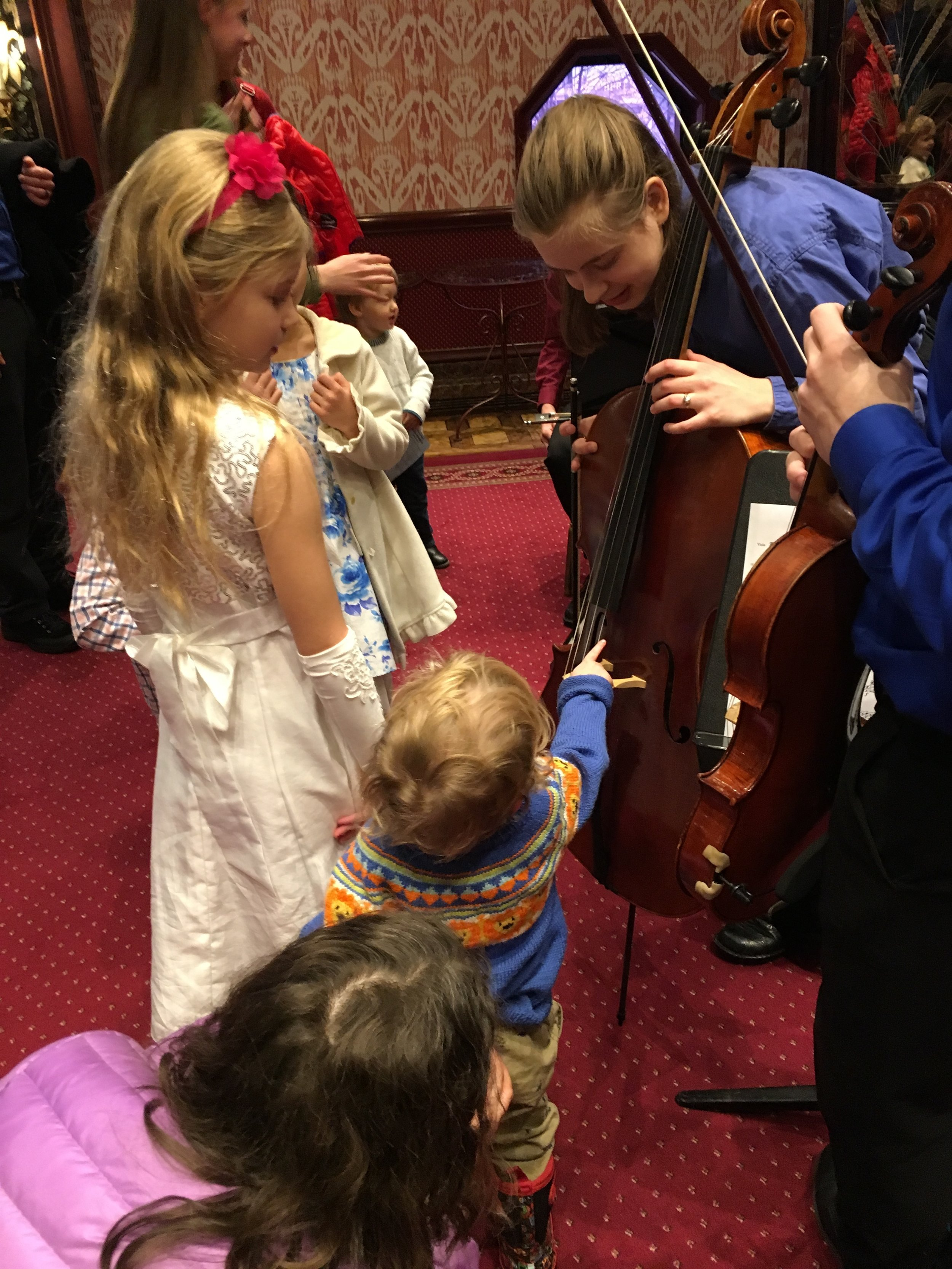 Fiddlesticks Activities Time - Saturday, February 23, 2019Members of TRYPO and PYSO introduced the instruments of a string quartet and performed for our youngest symphony goers, ages 2-5, in this special pre-concert activity time in the Heinz Hall for the Performing Arts Overlook Lounge.