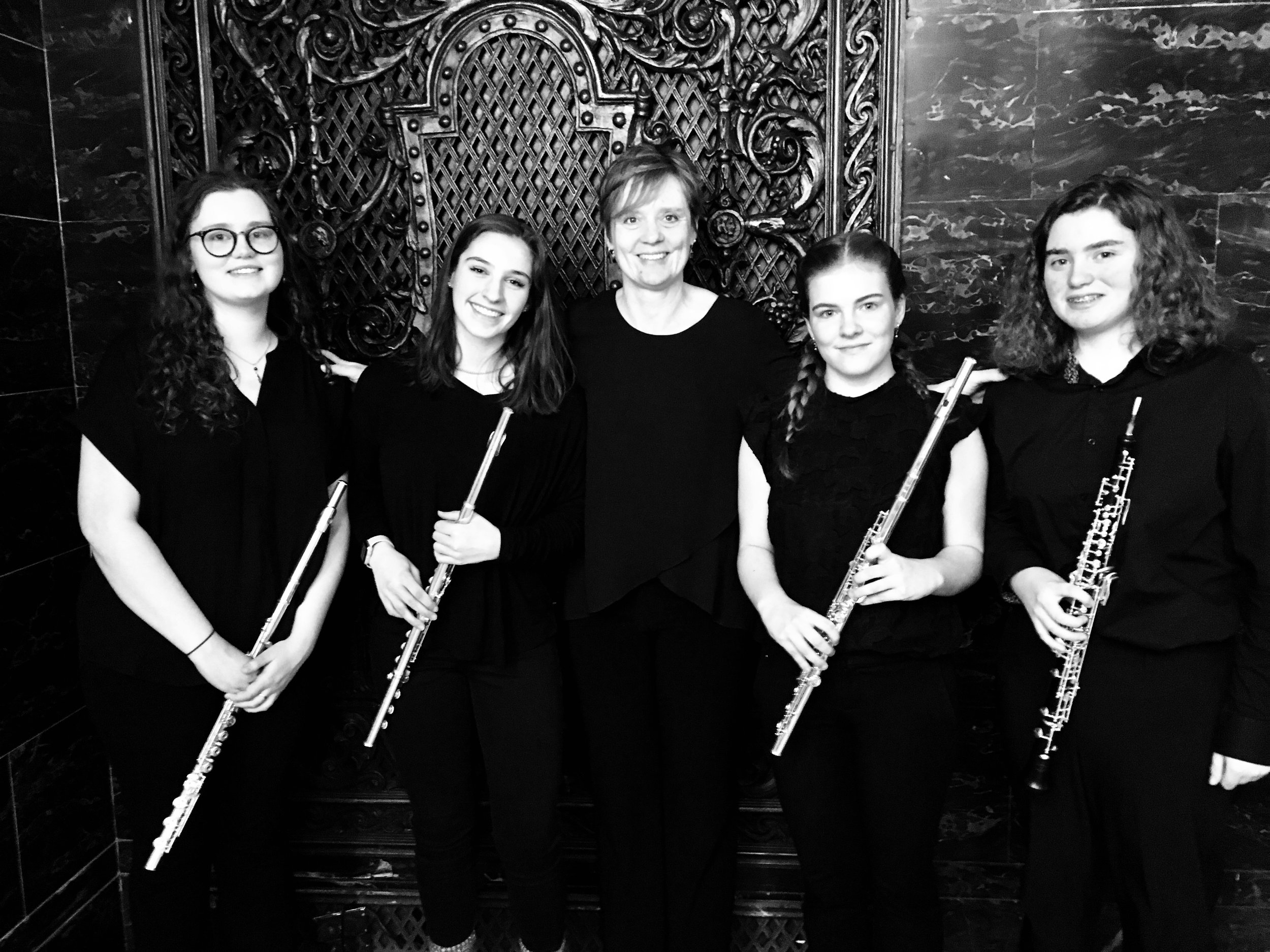 Kookaburra at Heinz Hall - March 24, 2019PSO Principal Piccolo Rhian Kenny posed with the members of the chamber group she coached this year, the Kookaburra Quartet - Emily, Zoe, Avery, and Becky. They performed in the lobby of Heinz Hall to greet symphony-goers on Sunday afternoon.