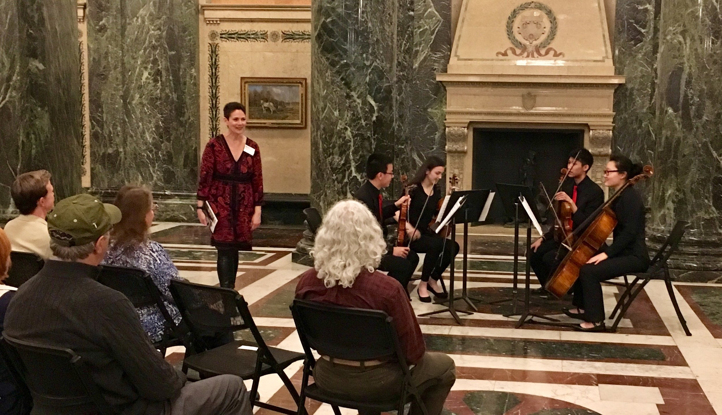 Chamber Music Pittsburgh - Monday, April 8, 2019The Vivo Quartet - Enoch, Carolyn, Futen, and Yunshu - performed in the beautiful foyer of Carnegie Music Hall in Oakland, as the winners of this year's Montgomery Fellowship! The Montgomery Fellowship winning group each year studies chamber music with PSO Principal Second Violin Jeremy Black.