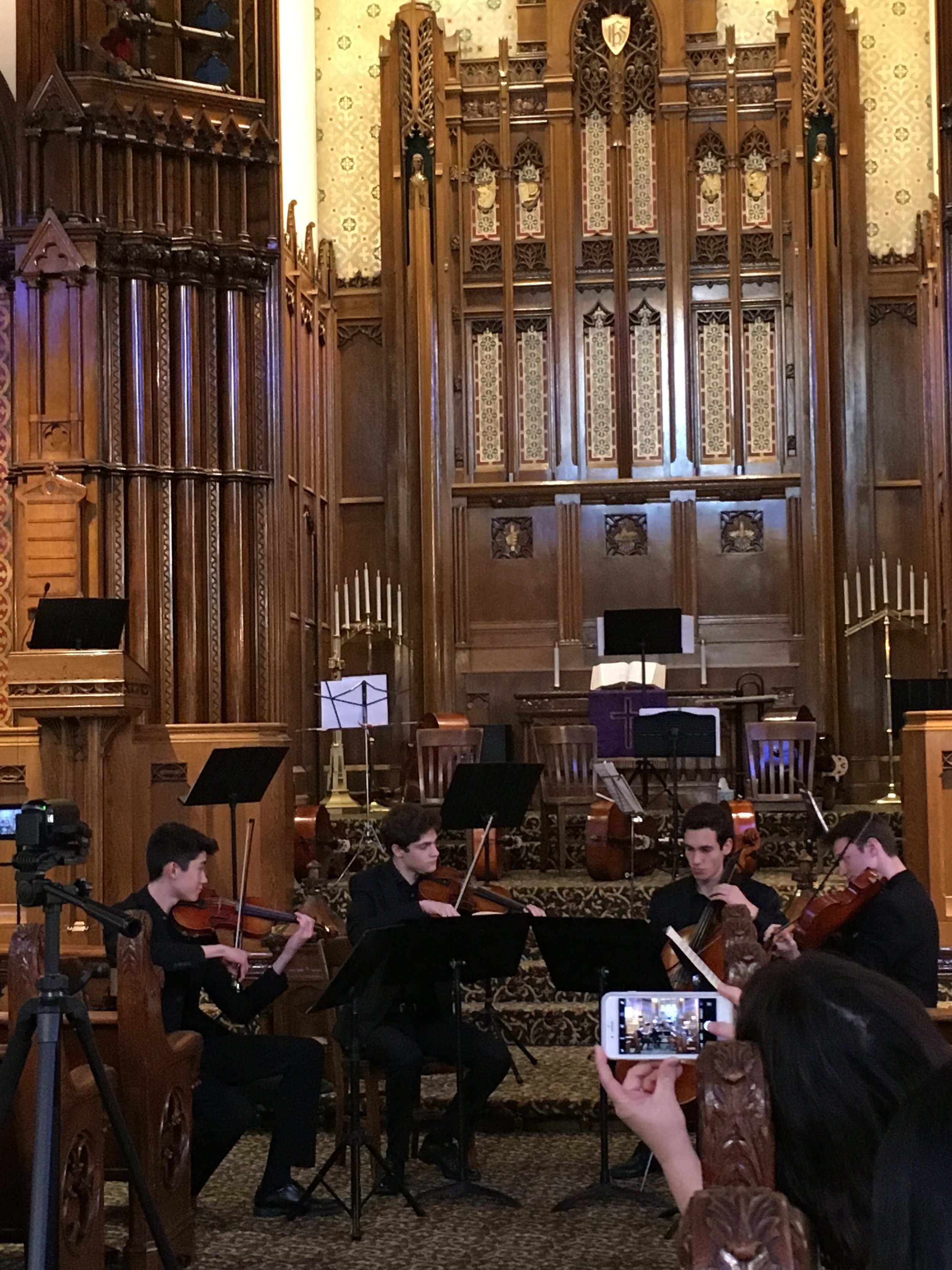 Tiffany Concert Series - Sunday, April 14, 2019PYSO's Mercurial Quartet - Charlie, Zach, Noah, and Felix - performed, along with the Vivo Quartet, in the beautiful Calvary United Methodist Church on the North Side, while the afternoon sun streamed in through their lovely Tiffany windows.