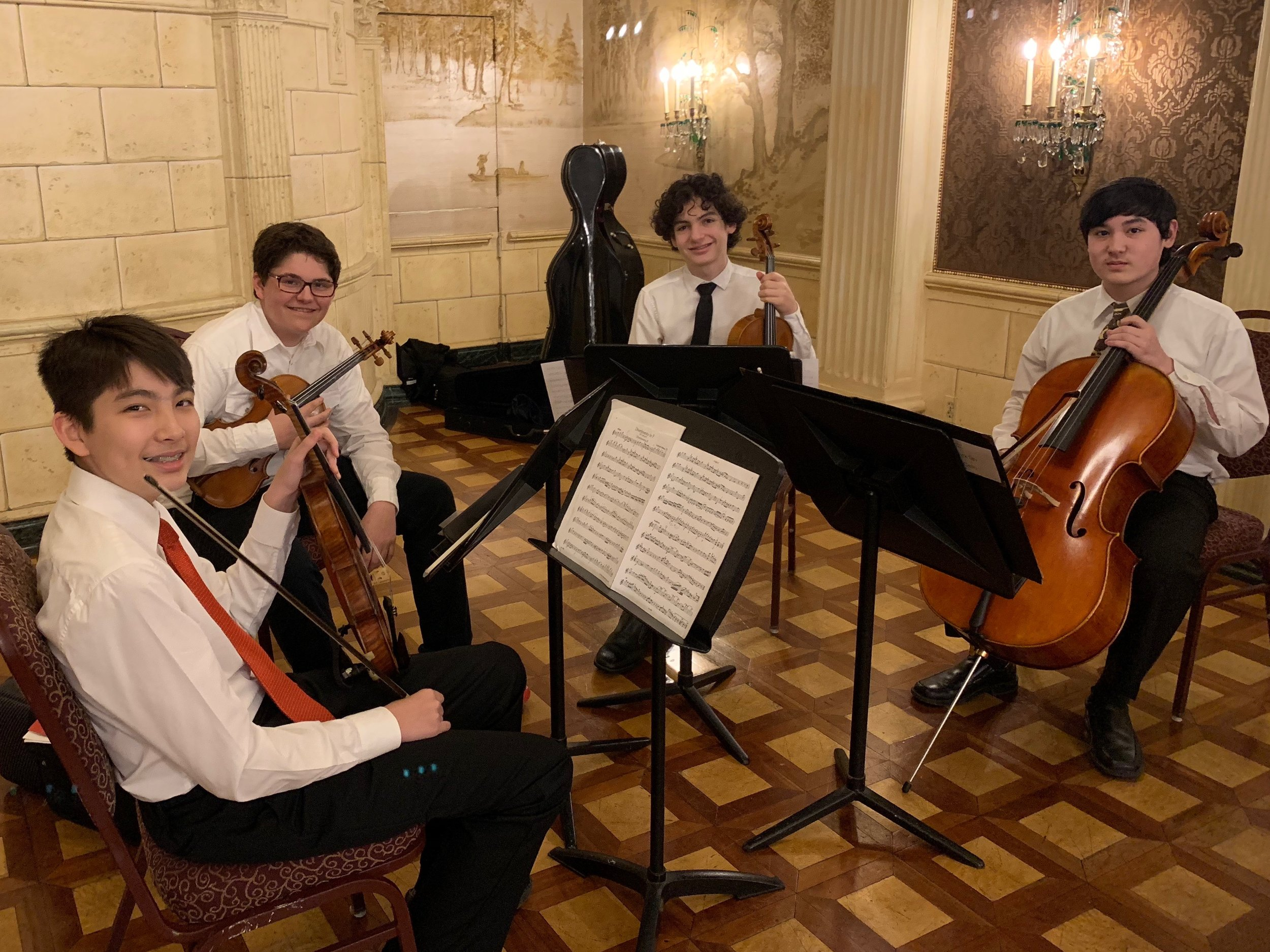 Steinberg Society - Sunday, April 27, 2019The UpBeat Quartet - Harry, Hector, Jonah, and Nick - all members of the Three Rivers Young Peoples Orchestra, performed for the Steinberg Society in the Mozart Room at Heinz Hall for the Performing Arts.